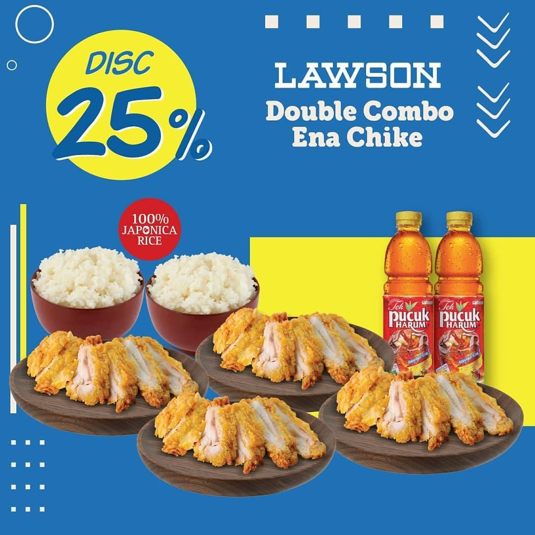 Diskon Lawson Promo Diskon 25% Untuk Pemesanan Paket Double Combo Ena Chicke Via GoFood/GrabFood