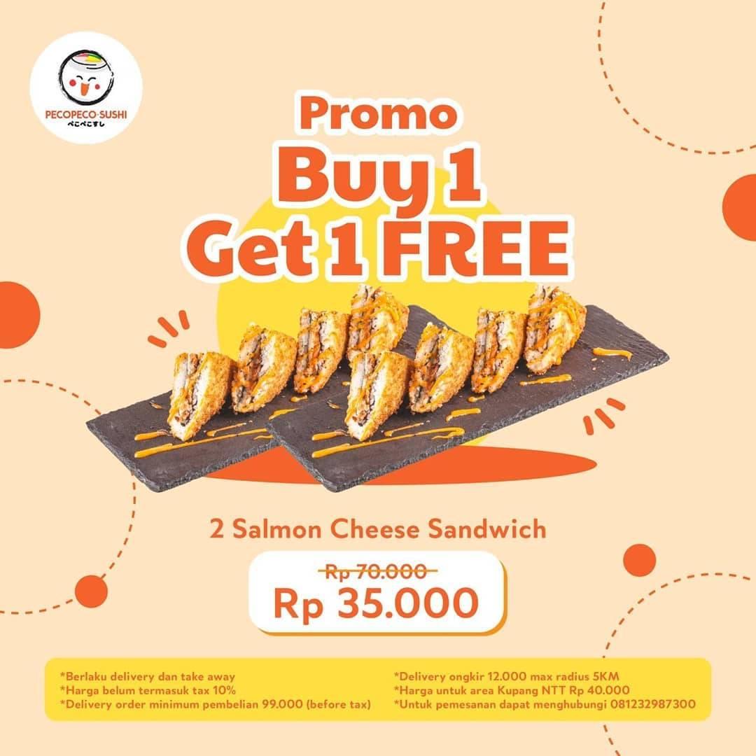 Diskon Peco Peco Sushi Promo Buy 1 Get 1 Free Salmon Cheese Sandwich
