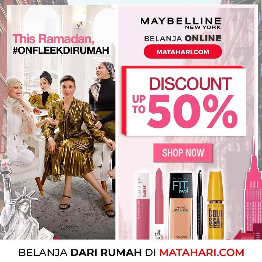Diskon Matahari Promo Diskon 50% Untuk Produk Kosmetik Dari Brand Maybelline & L'oreal