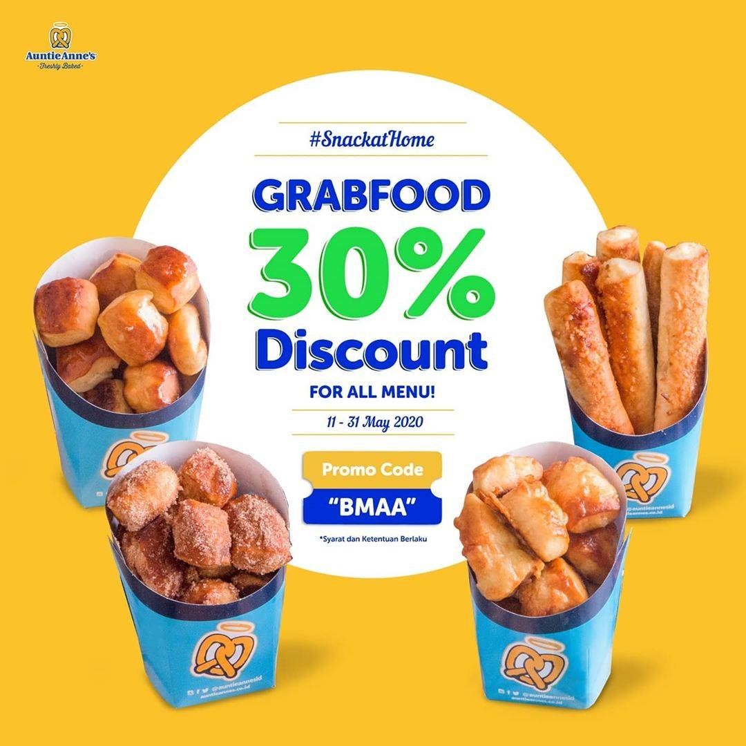 Diskon Auntie Anne's Promo Discount 30% Off For Ordering Via GrabFood