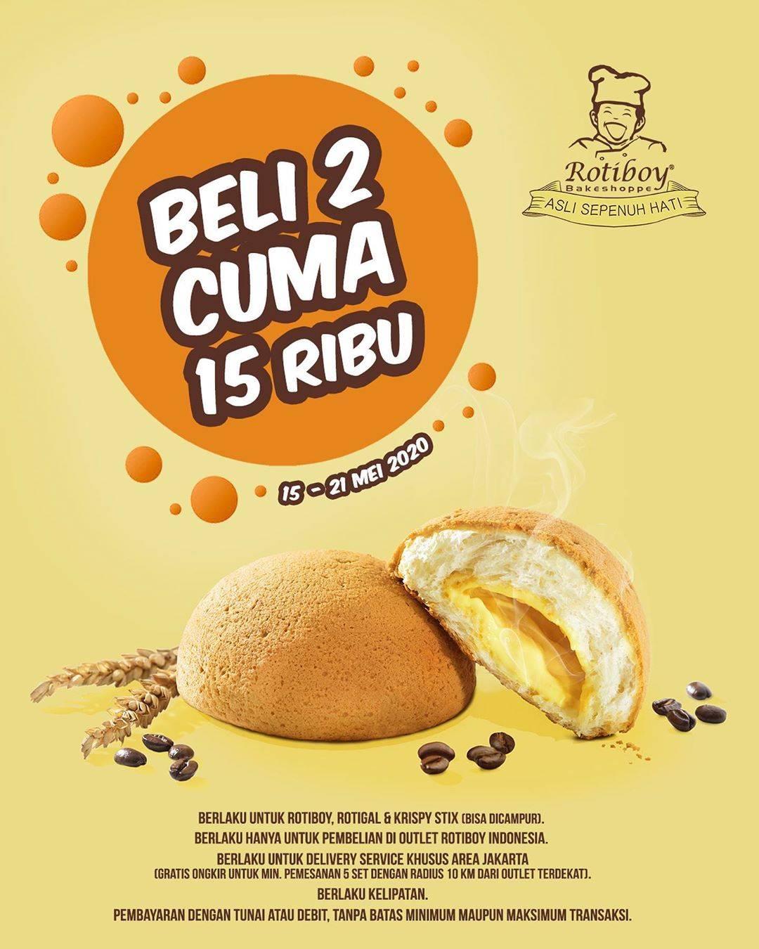 Diskon Roti Boy Promo Beli 2 RotiBoy/ Rotigal/ Krispy Stix Cuma Rp. 15.000