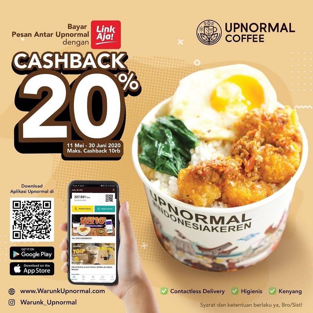 Diskon Warunk Upnormal Promo Cashback 20% Untuk Transaksi Menggunakan LinkAja