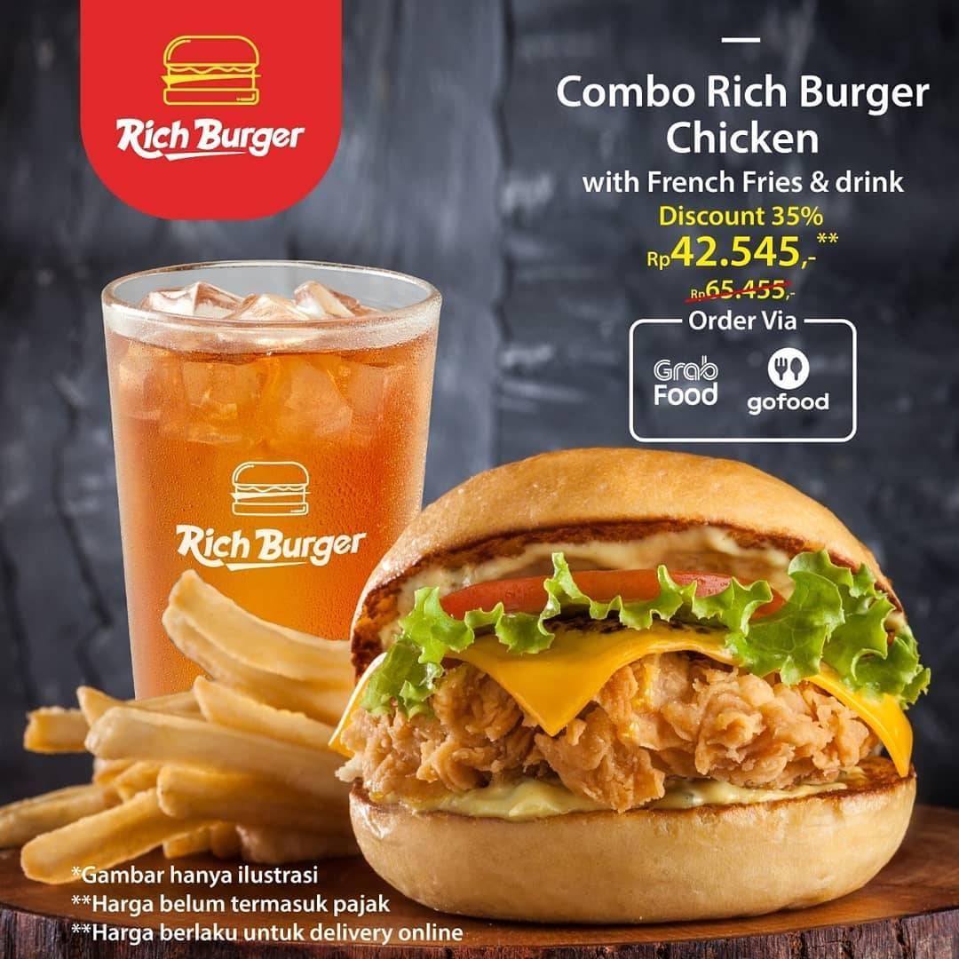 Diskon Rich Burger Promo Diskon 35% Untuk Paket Combo Rich Burger Chicken