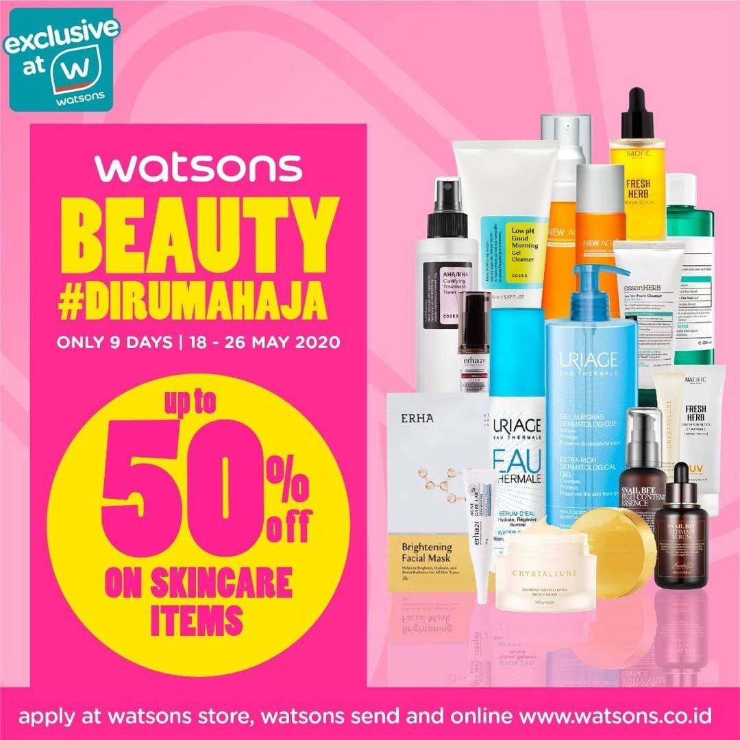 Diskon Watsons Promo Beauty Dirumah Aja Dapatkan Diskon Hingga 40% Untuk Produk Skincare