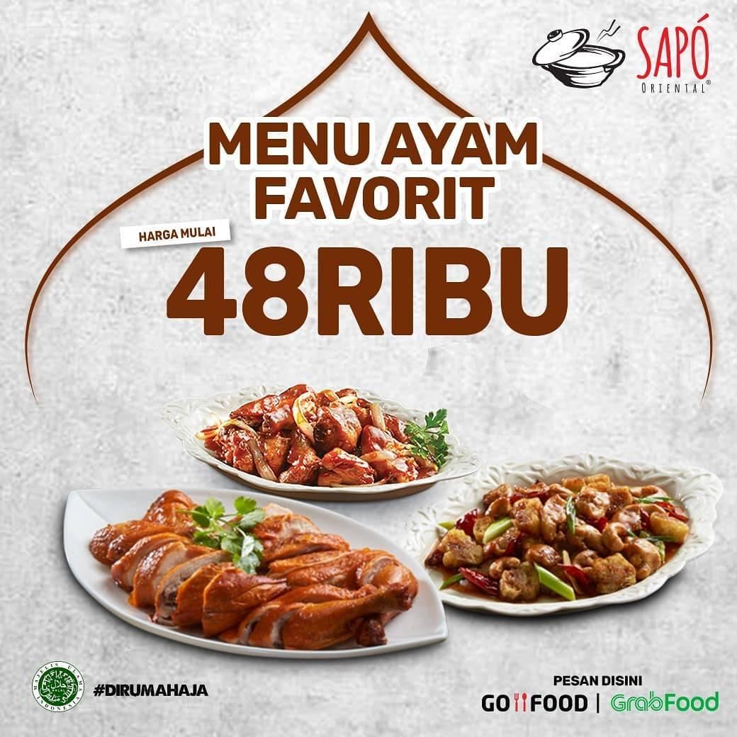 Diskon Sapo Oriental Promo Menu Ayam Favorit Dengan Harga Mulai Dari Rp. 48.000