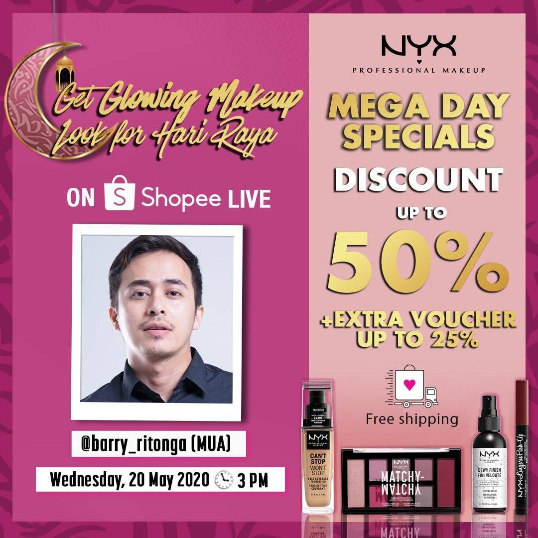 Diskon Shopee Promo Discount Up To 50% Off + Extra Voucher Up To 25% Off Of Nyx Cosmetics