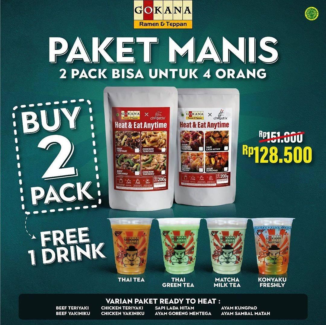 Diskon Gokana Promo Paket Manis Cuma Rp. 128.500, Beli 2 Pack Gratis 1 Minuman