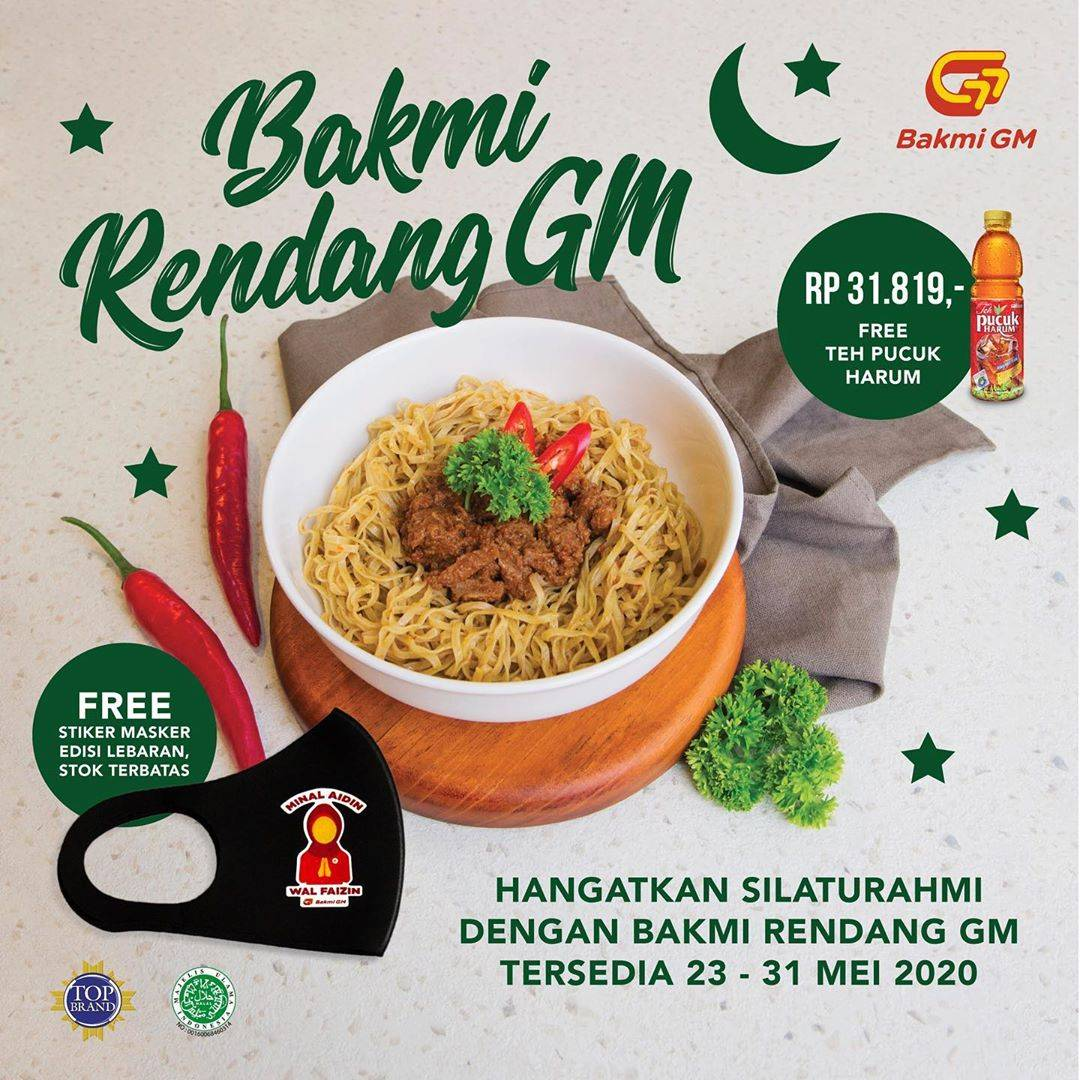 Diskon Bakmi GM Promo Paket Bakmi Rendang + Teh Pucuk Harum Hanya Rp. 31.819 + Gratis Masker