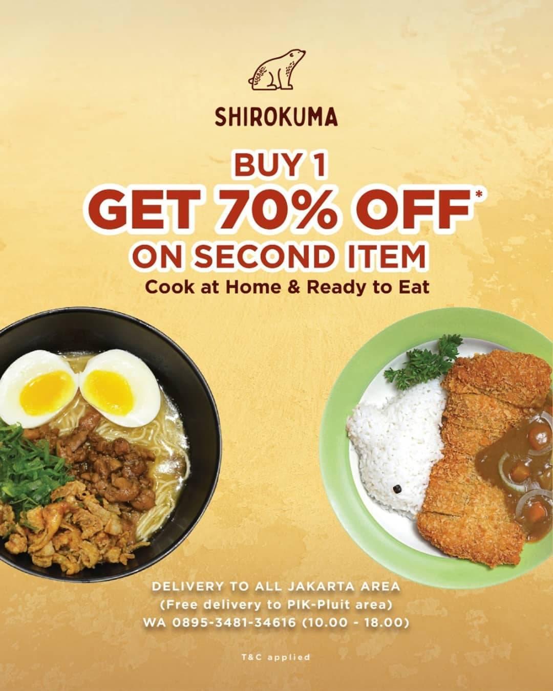 Diskon Cafe Shirokuma Promo Buy 1 Get 70% Off On Second Item For Selected Menu