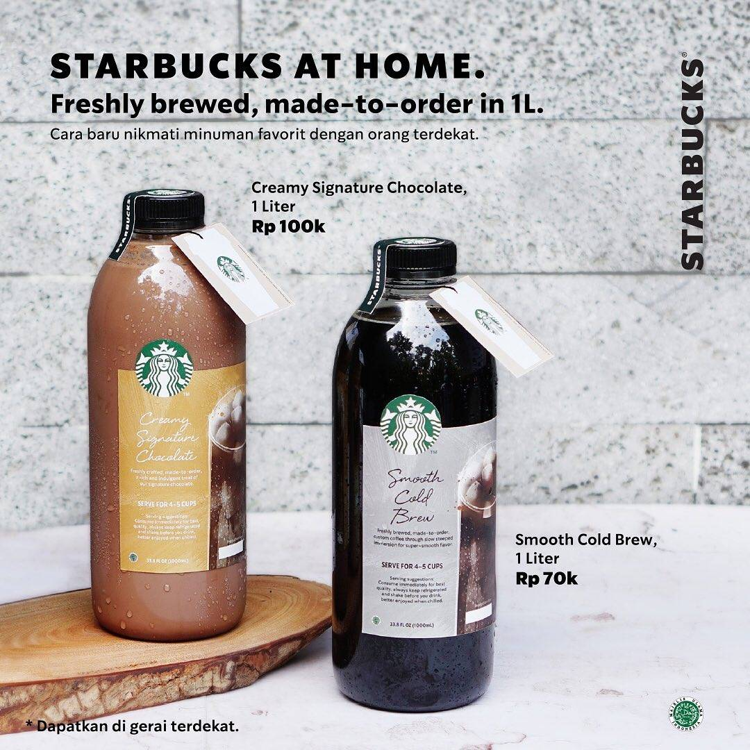 Diskon Starbucks Promo Smooth Cold Brew & Creamy Signature Chocolate Ukuran 1 Liter