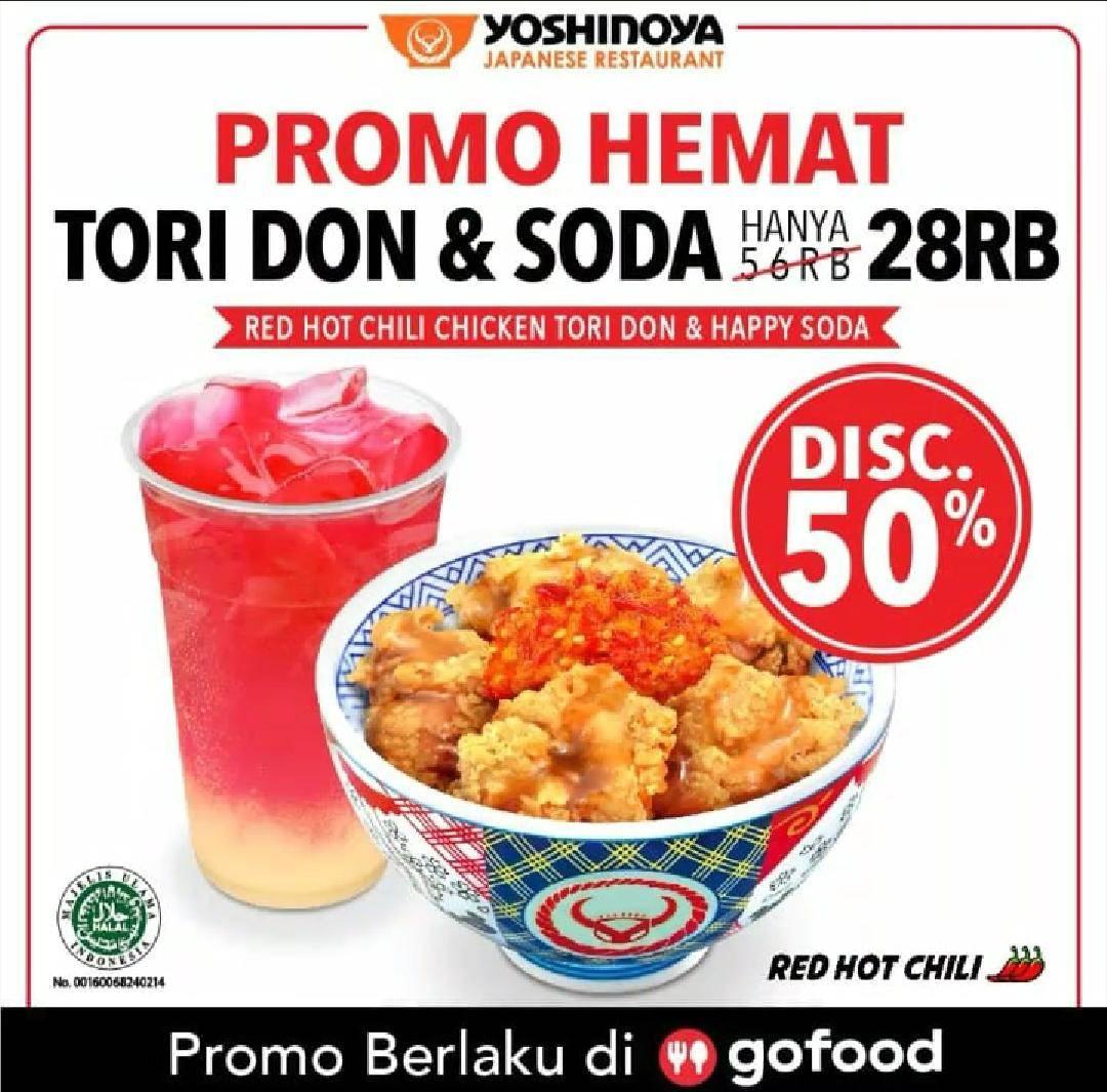 Diskon Yoshinoya Promo Hemat, Diskon 50% Untuk Menu Tori Don + Soda Untuk Pemesanan Via GoFood