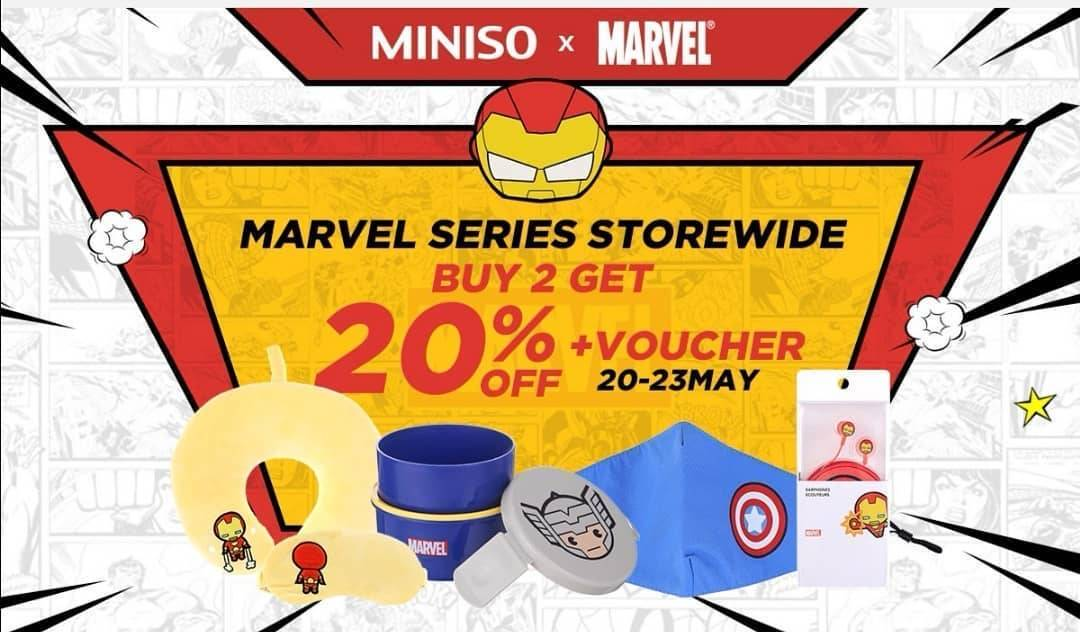 Diskon Miniso Promo Buy 2 Get Discount 20% Off For Marvel Series