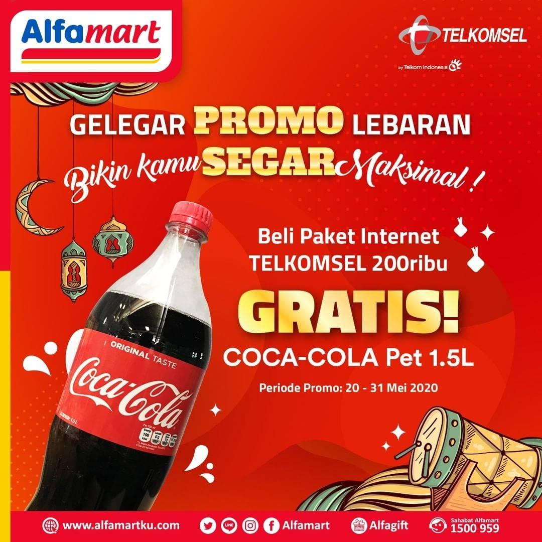 Diskon Alfamart Promo Gratis Coca Cola Pet 1.5 L Setiap Pembelian Paket Data Telkomsel Senilai Rp. 200.000