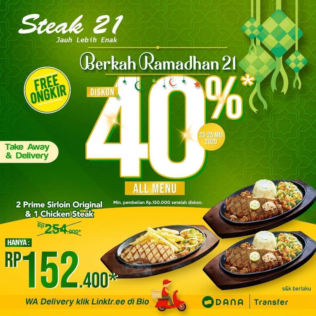 Diskon Steak 21 Promo Diskon 40% Untuk Semua Menu + Gratis Ongkir