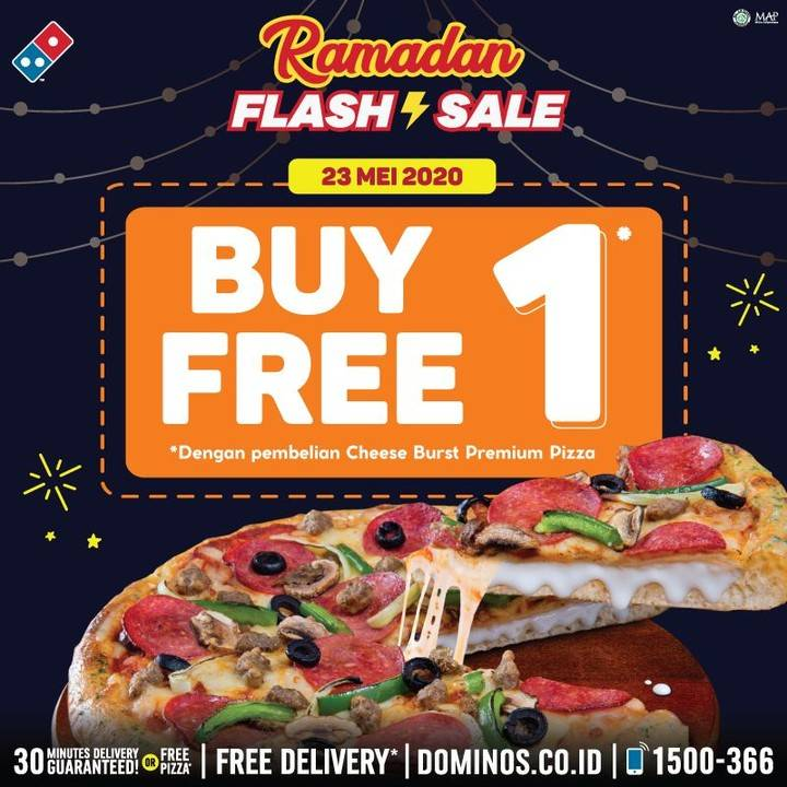 Diskon Domino's Pizza Promo Flash Sale! Buy 1 Get 1 Free Pizza + Cashback 30% OVO
