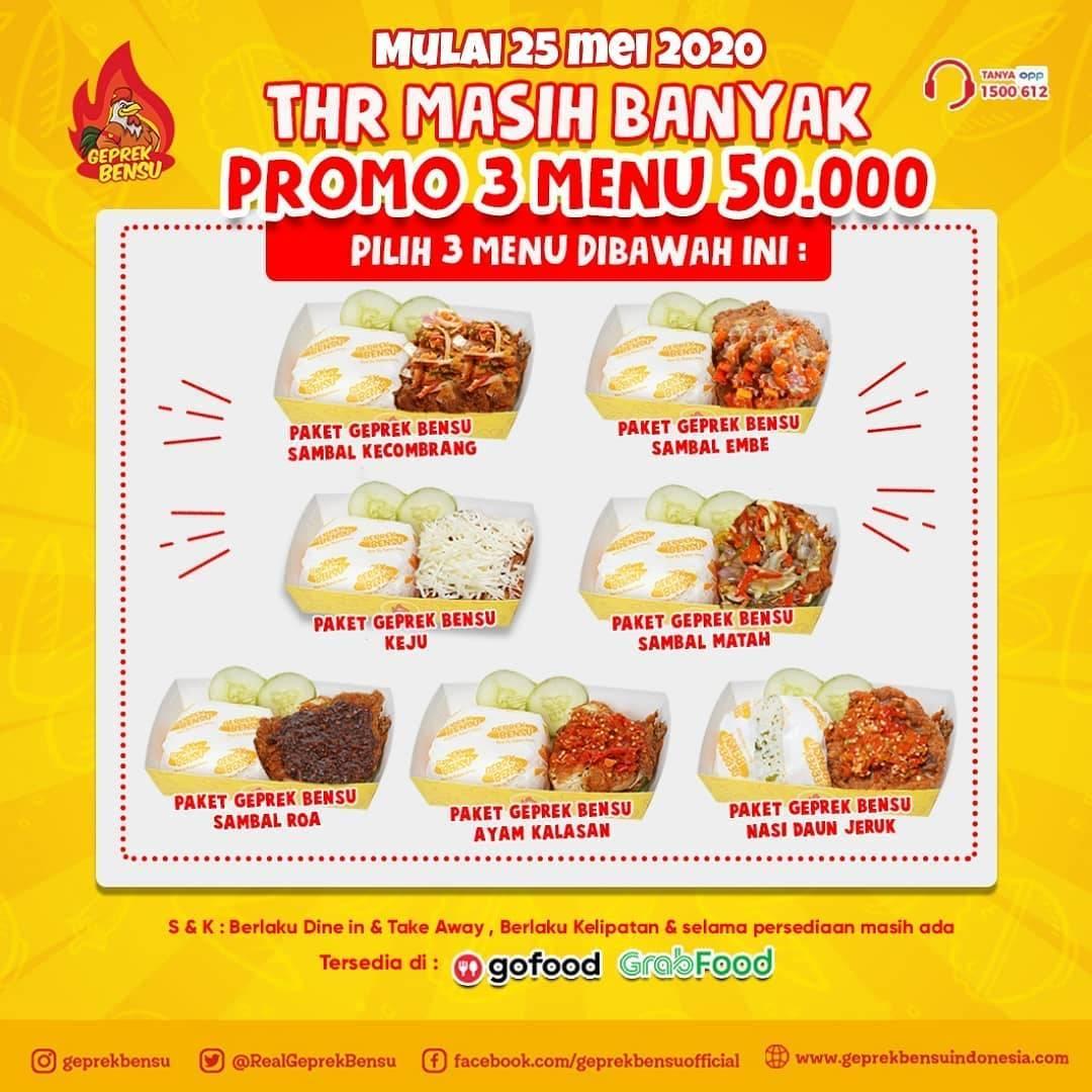Diskon Geprek Bensu Promo Harga Spesial 3 Menu Cuma Rp. 50.000