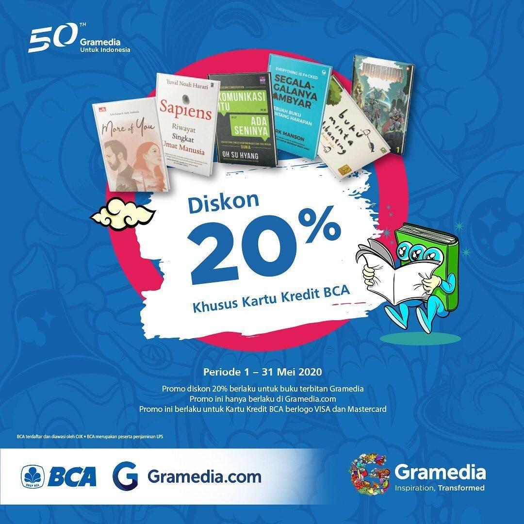 Diskon Gramedia Promo Diskon 20% Untuk Transaksi Menggunakan Kartu Kredit BCA Visa/Mastercard