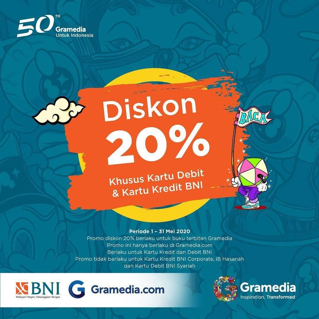 Diskon Gramedia Promo Diskon 20% Untuk Transaksi Menggunakan Kartu Kredit & Debit BNI