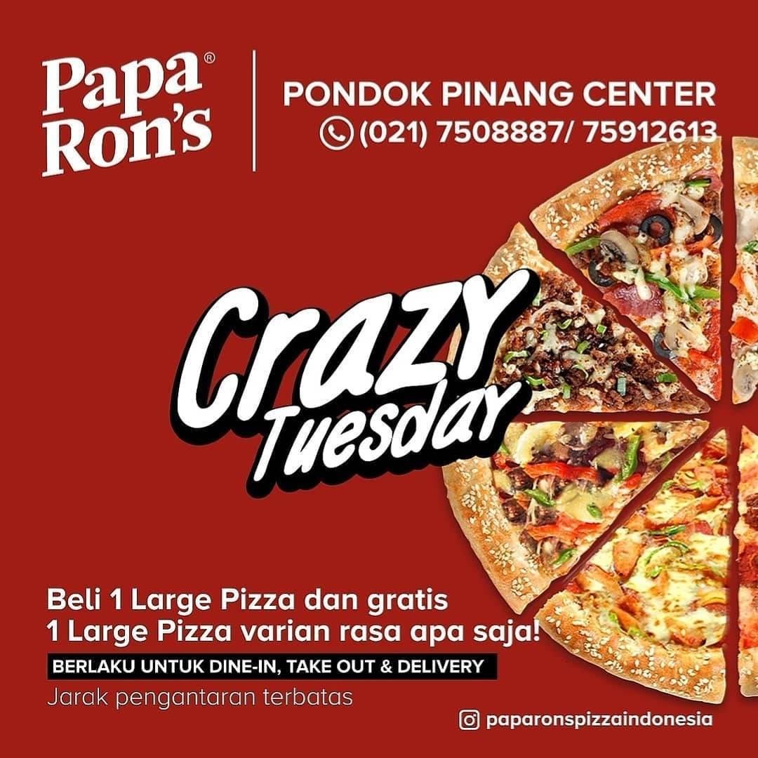Diskon Paparons Promo Crazy Tuesday, Beli 1 Large Pizza Gratis 1 Pizza Varian Apa Saja