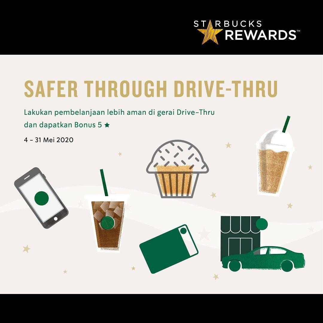 Diskon Starbucks Promo Bonus Rewards 5 Stars Setiap Pembelian Melalui Drive Thru