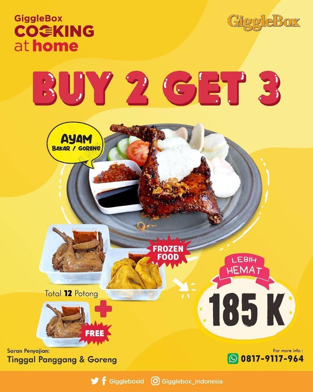 Diskon Giggle Box Promo Beli 2 Gratis 3 Ayam Bakar/Goreng