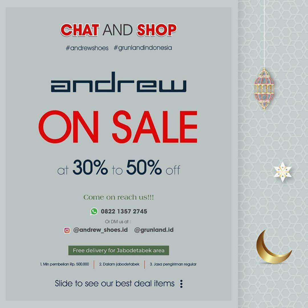 Diskon Andrew Shoes Promo On Sale! Discount Up To 50% Off + Free Ongkir Area Jabodetabek