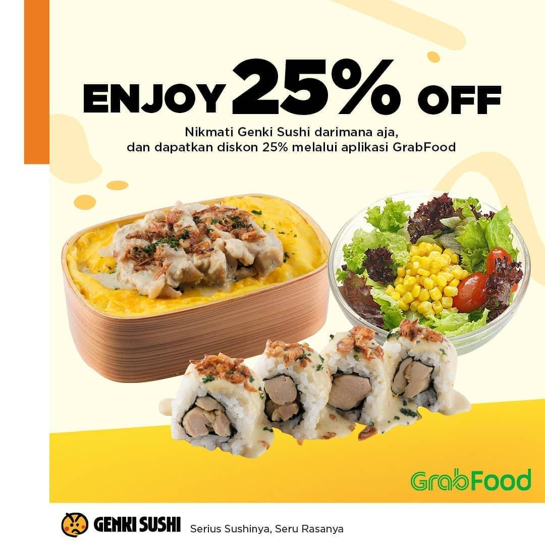 Diskon Genki Sushi Promo Diskon 25% Untuk Pemesanan Paket Bento Pilihan Melalui GrabFood