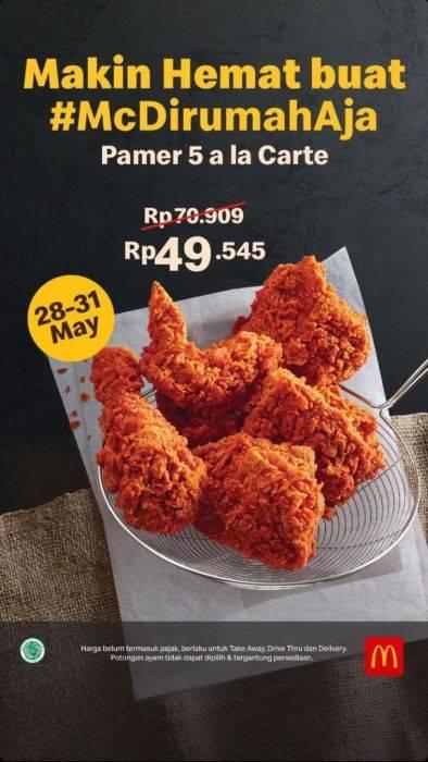 Diskon McDonalds Promo PaMer 5 A La Carte Cuma Rp. 49.545