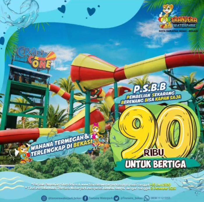 Diskon Transera Waterpark Promo PSBB Beli Tiket Dengan Harga Rp. 90.000 Untuk Bertiga