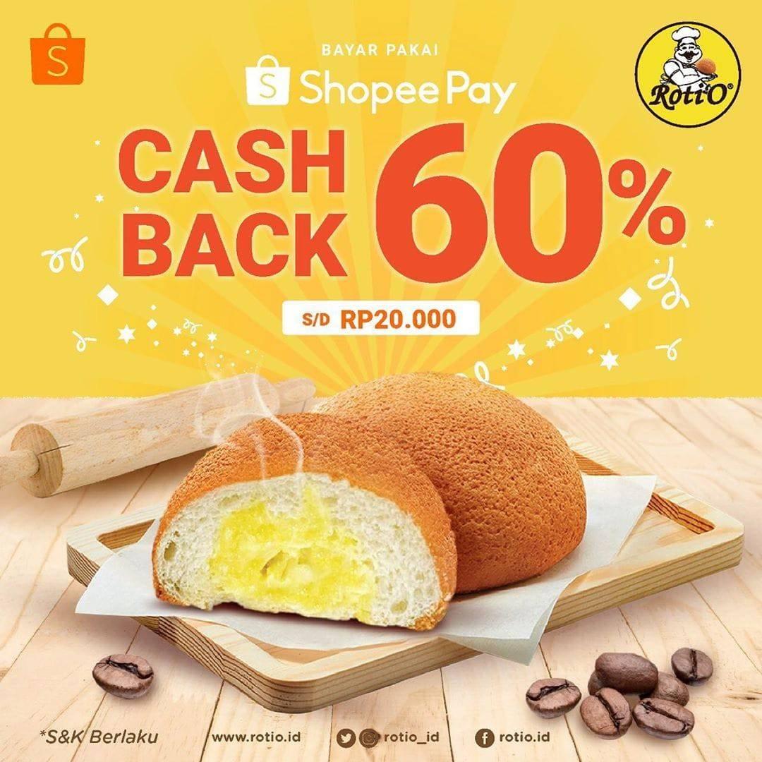 Diskon Roti'O Promo Spesial Shopeepay, Cashbacck 60%!