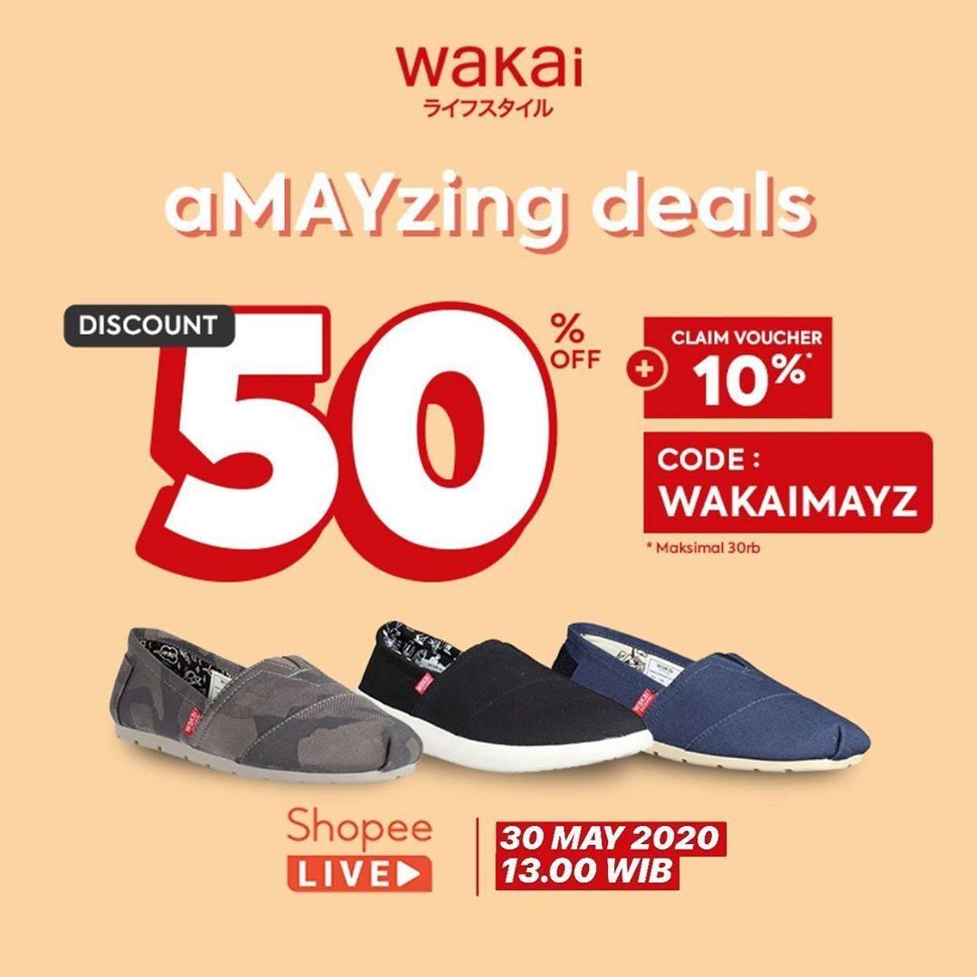 Diskon Wakai Promo aMayzing Deals Dapatkan Diskon 50% + Claim Voucher 10% Di Shopee