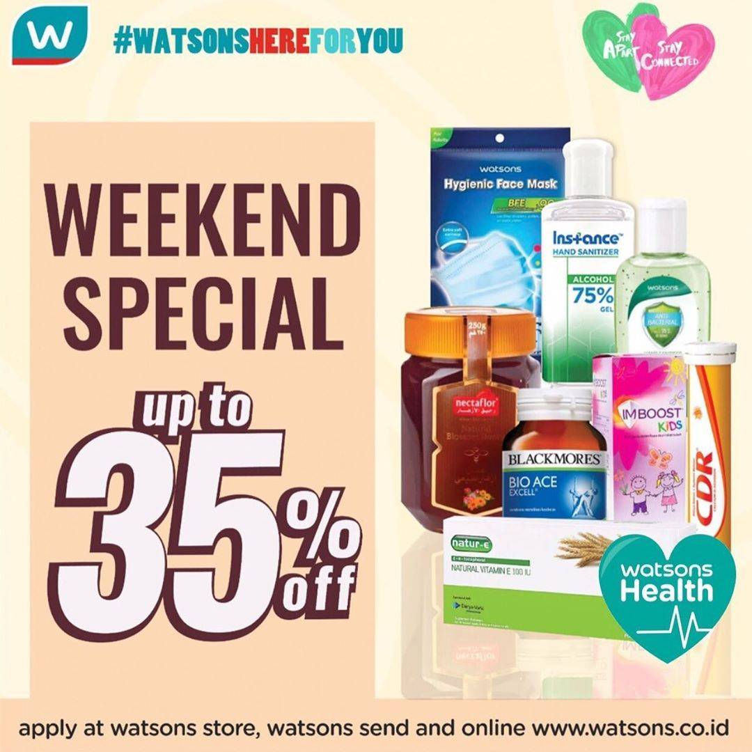 Diskon Watsons Promo Weekend Special Dapatkan Diskon Hingga 35% Untuk Produk Kesehatan