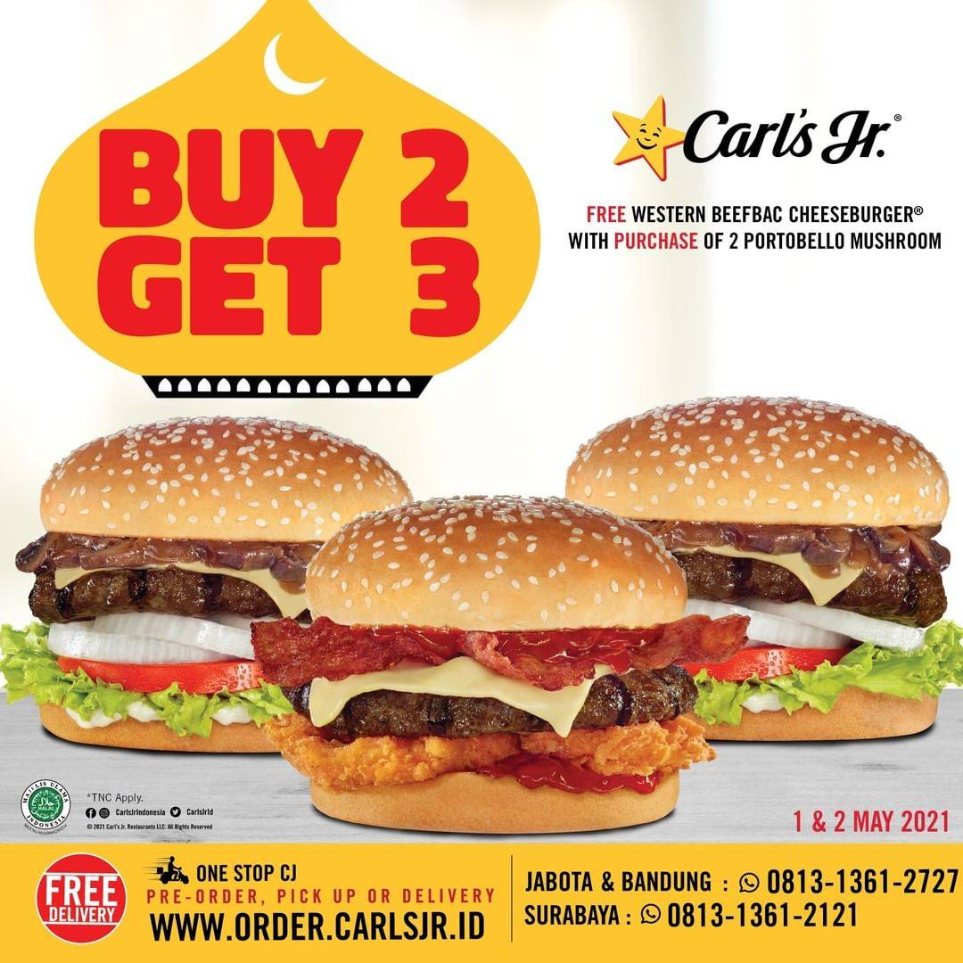 Diskon Carls Jr Buy 2 Get 3 Burger