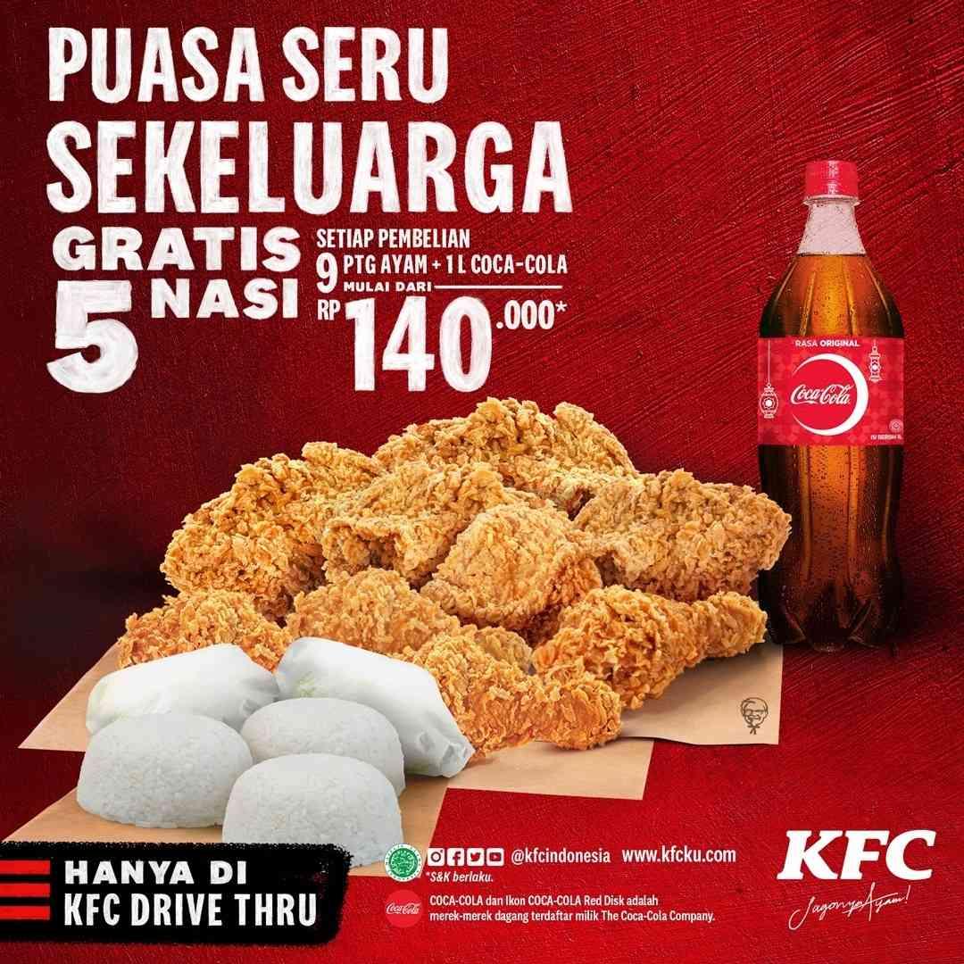 Diskon KFC Promo Paket Sekeluarga 9 Pcs Ayam + 5 Nasi + 1L Coca Cola Hanya Rp. 140.000