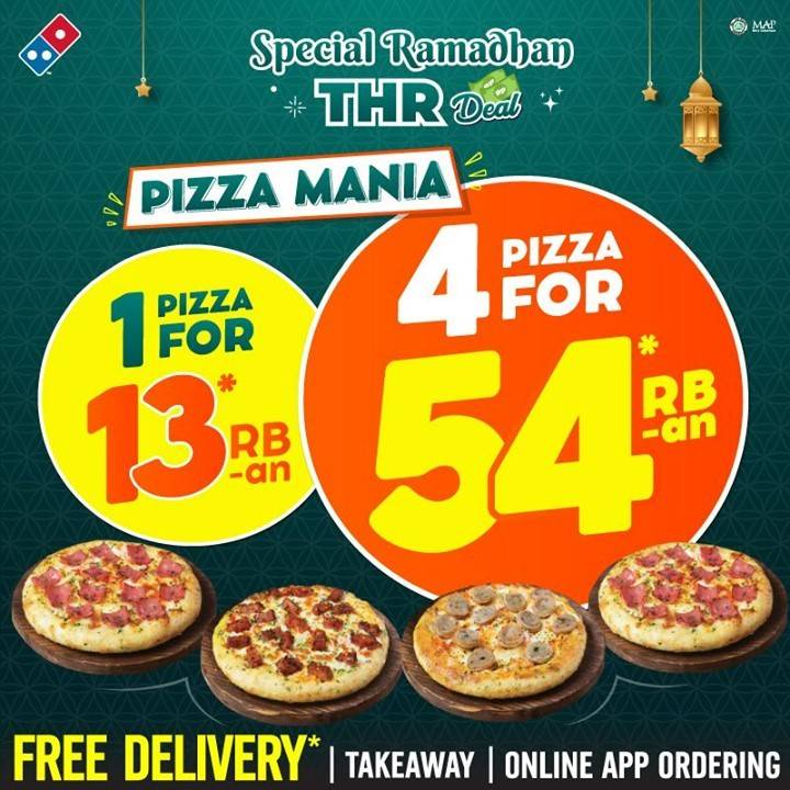 Diskon Domino's Pizza Promo Special Ramadhan THR Deal 4 Pizza For Rp. 54 Ribuan