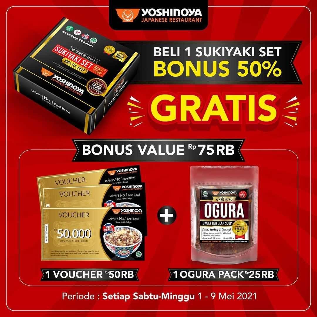 Promo diskon Yoshinoya Promo Sabtu Minggu Hemat Beli 1 Sukiyaki Set Bonus 50%