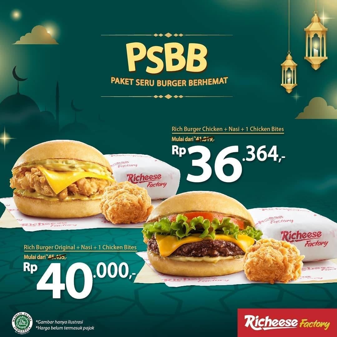 Diskon Richeese Factory Promo Paket Seru Burger Berhemat Mulai Dari Rp. 36.364