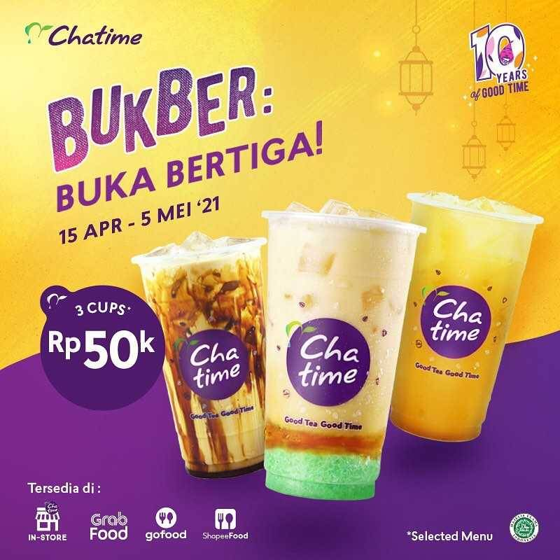 Diskon Chatime Promo 3 Cups Only For Rp. 50.000