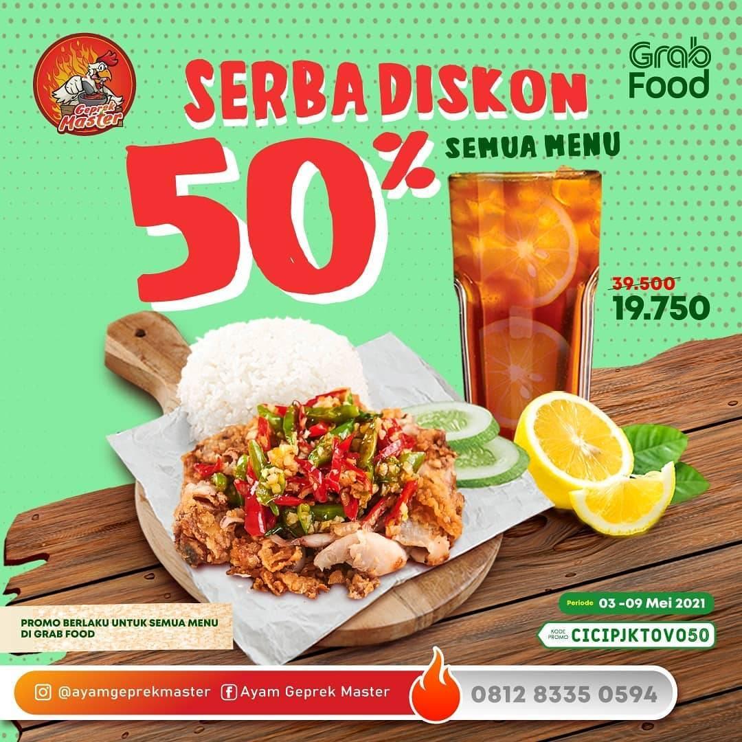 Diskon Ayam Geprek Master Diskon 50% Dengan GrabFood