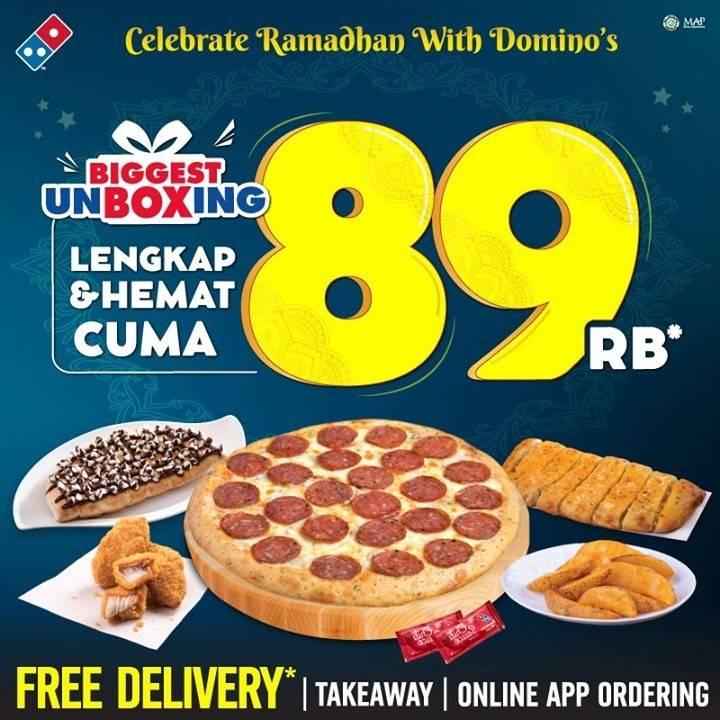 Diskon Domino's Pizza Promo Biggest Unboxing Hanya Rp. 89.000