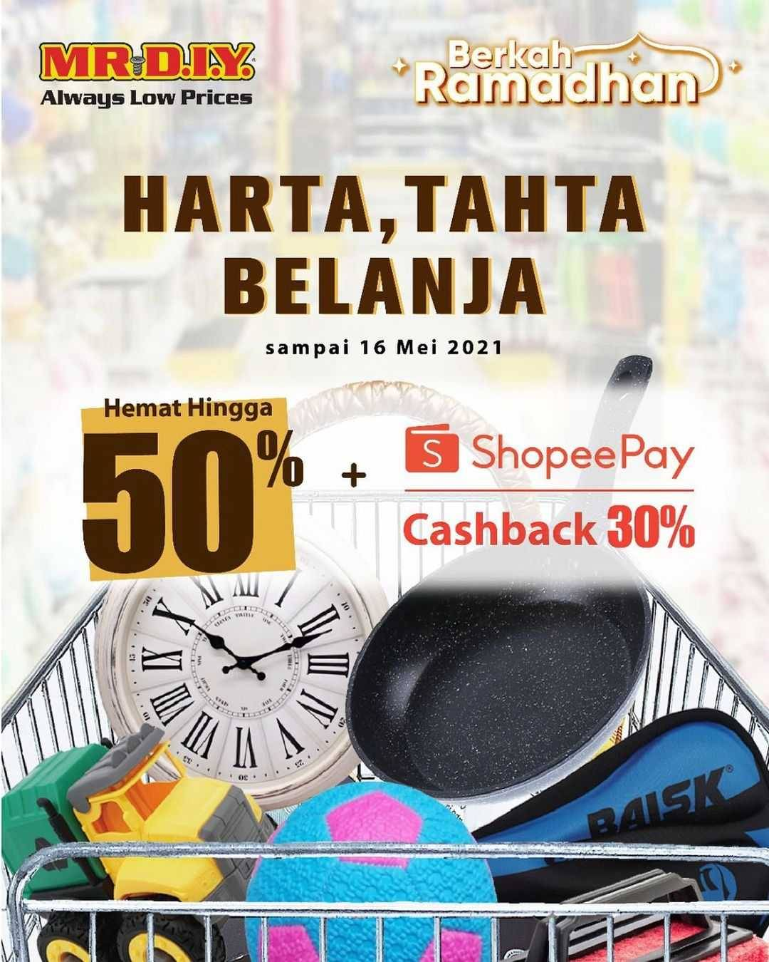 Diskon Mr DIY Diskon Hingga 50% + Cashback 30% Dengan Shopeepay