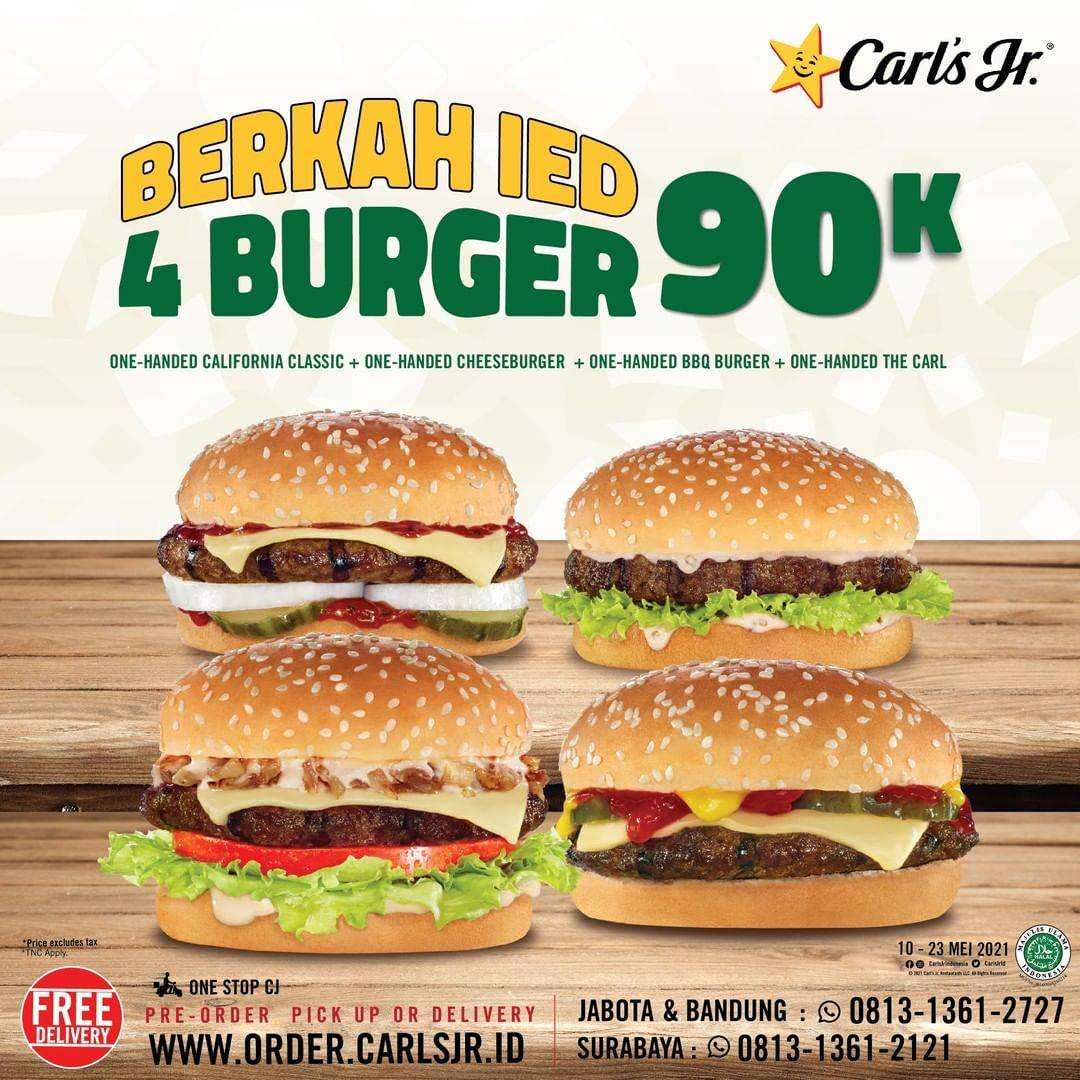 Diskon Carls Jr Promo Berkah IED 4 Burger Only For Rp. 90.000