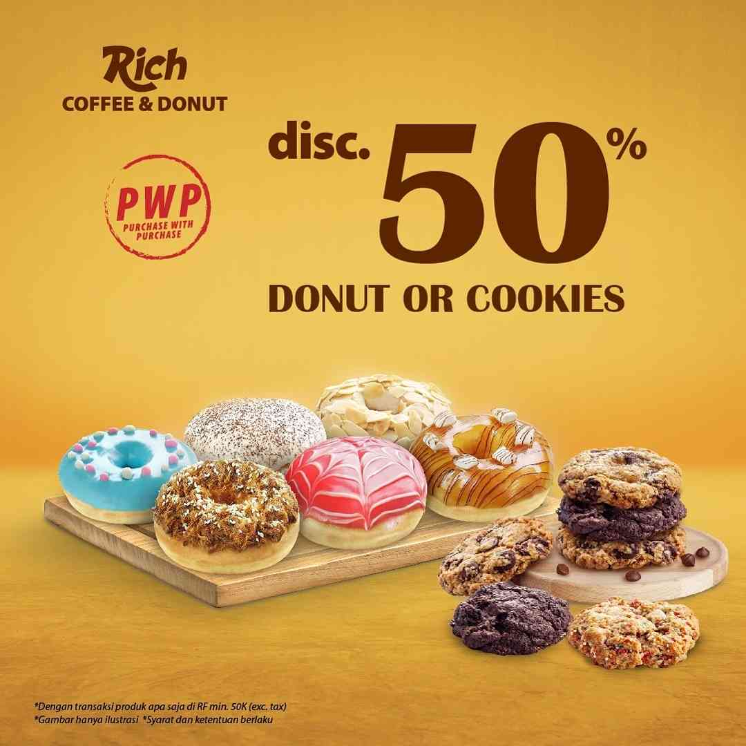 Diskon Rich Coffee & Donut Discount 50% Off