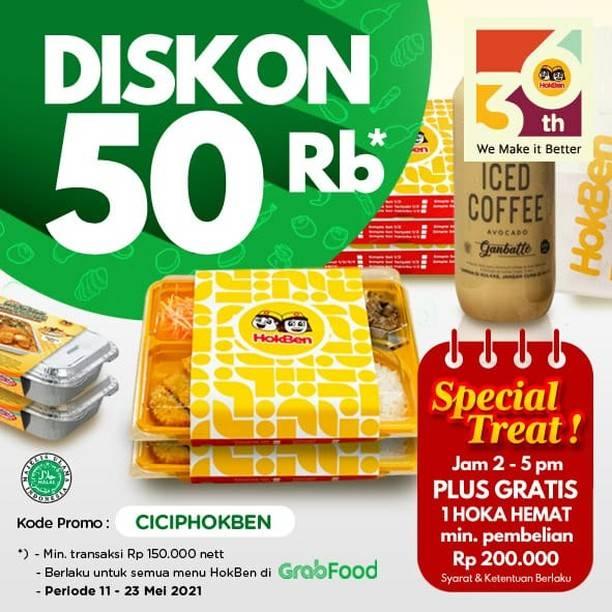 Diskon Hokben Diskon Rp. 50.000 Dengan GrabFood