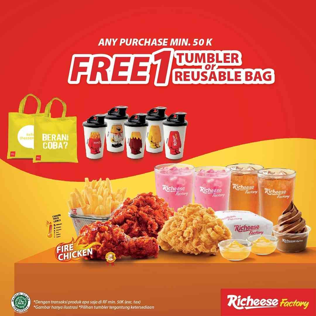 Diskon Richeese Factory Any Purchase Rp. 50.000 Get Free Tumbler/Reusable Bag
