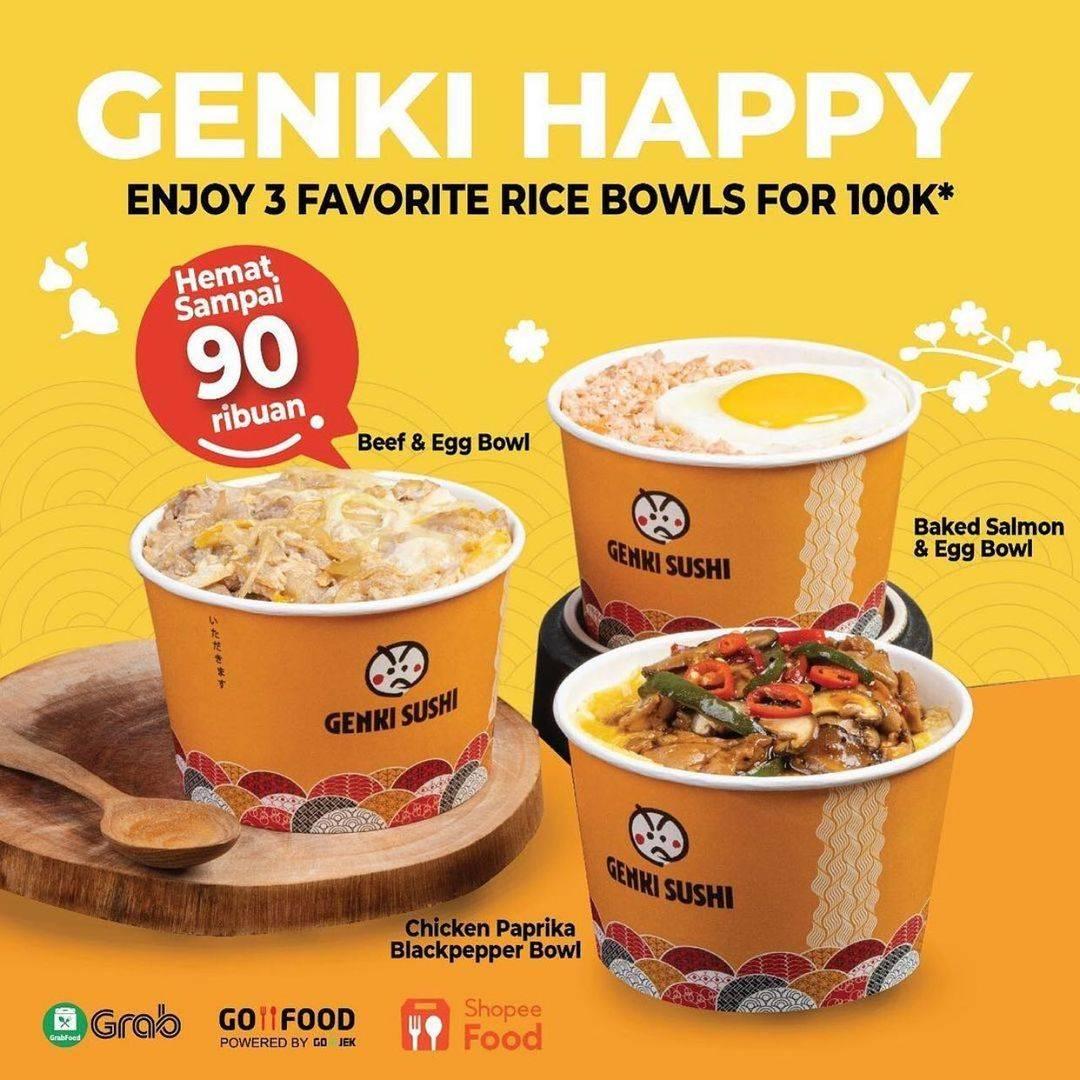 Diskon Genki Sushi Promo Genki Happy 3 Rice Bowl Only For Rp. 100.000