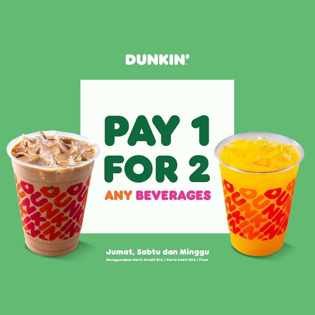 Diskon Dunkin Donuts Pay 1 For 2 Any Beverages With BCA Credit/Debit Card