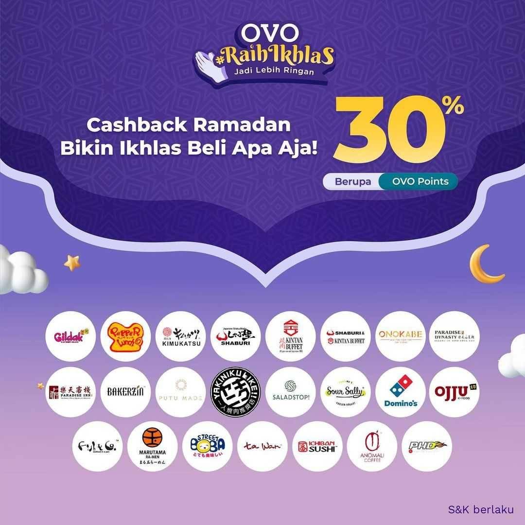 Promo diskon OVO Promo OVO Raih Ikhlas Cashback 30% Di Merchant Pilihan