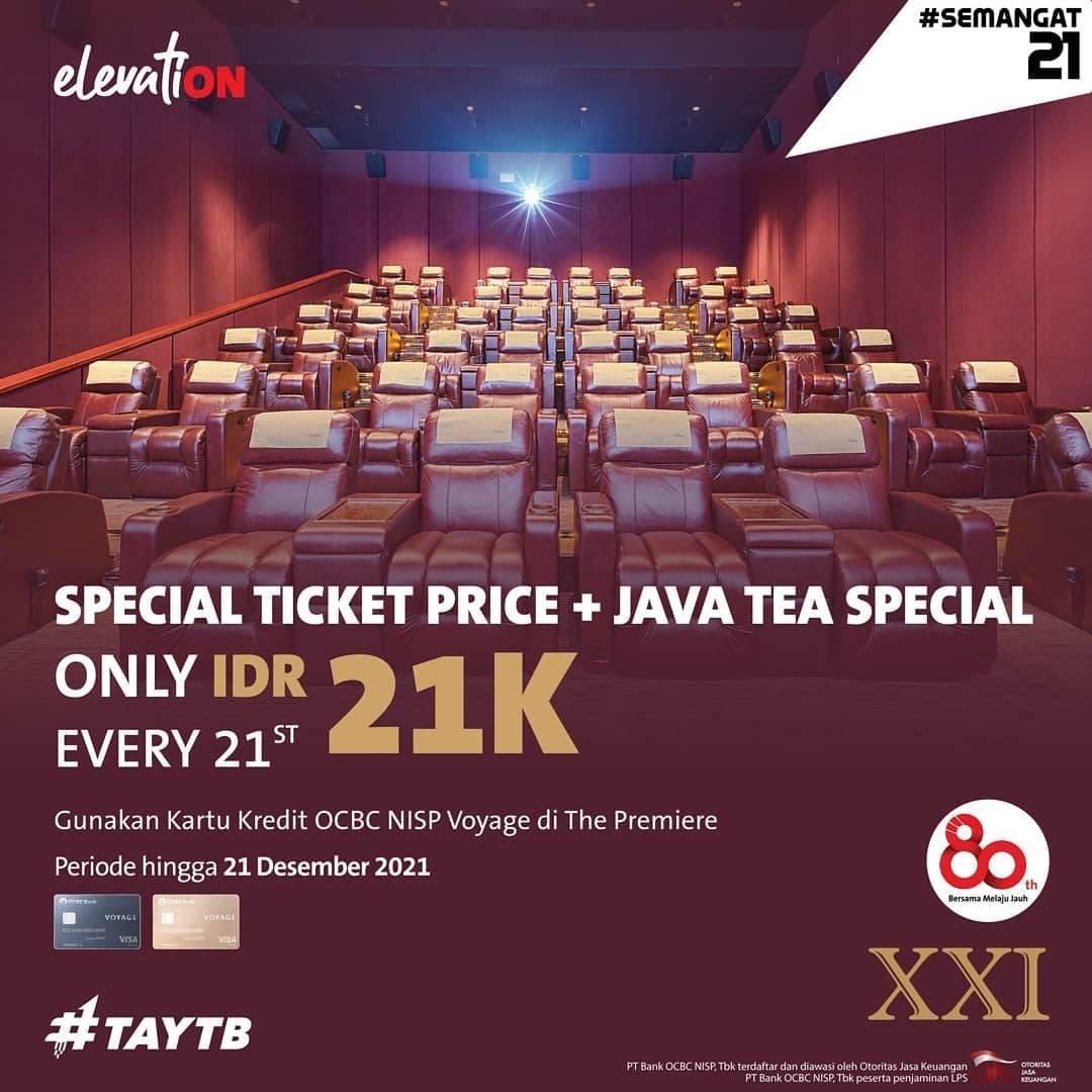 Diskon XXI Promo Ticket + Java Tea Hanya Rp. 21k Dengan Kartu Kredit OCBC NISP