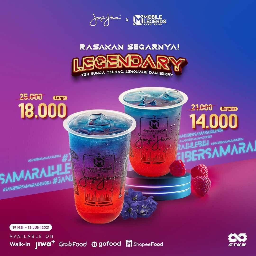 Promo diskon Kopi Janji Jiwa x Mobile Legends Menu Legendary Start From Rp. 14.000